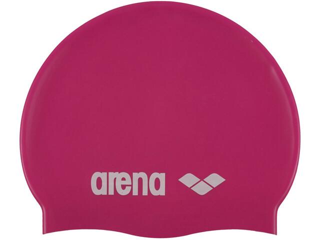 arena Classic Silicone Swimming Cap Kinder fuxia-white